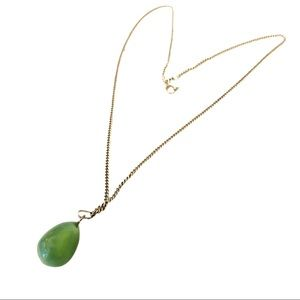 Necklace with an authentic stone. Sterling chain